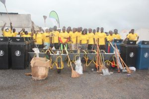 Staff and residents of Atupkai community at the donation of the cleaning materials by Vivo Energy Ghana