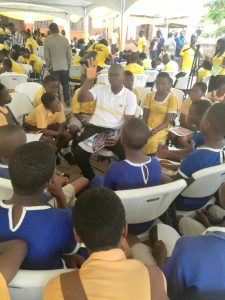 Joseph Dogbe, an official of MTN Ghana taking the school children through science topics