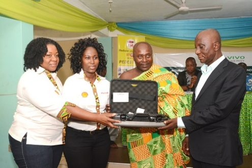 The Corporate Comms. Mgr. of Vivo Energy Ghana, Mrs Shirley Tony Kum (2nd from left) presenting the Alcohol meter to the Ashanti Reg. Chairman of the GPRTU, Nana Bresiamha (right)