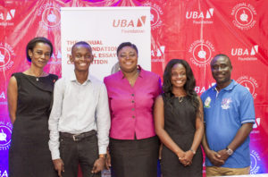 From (l-r), Madam Bola Atta, CEO, UBA Foundation, Fred Asante, a beneficiary of the scholarship, UBA Ghana MD/CEO, Mrs Abiola Bawuah, Dorcas Nuku Darko, a beneficiary of the scholarship, and Mr Augustus Owusu-Agyemfra of the GES