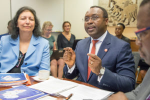 Albert Zeufack, World Bank Africa Region Chief Economist, and Punam Chuhan-Pole, World Bank Africa Region Lead Economist, and author of Africa's Pulse during the 2017 WBG-IMF Annual Meetings. Photo: Dasan Bobo/World Bank