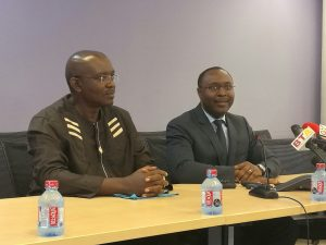 From (l-r) World Bank Country Director for Ghana, Henry G.R. Kerali, and Chief Economist for the Africa Region of the World Bank, Dr Albert G. Zeufack addressing the journalists in Accra