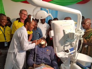 Dr. Stephen Quarcoo, Dental Surgeon of New Abirem Hospital Demonstrating the Unigue Features of the Dental Chair Donated by Vivo Energy Ghana